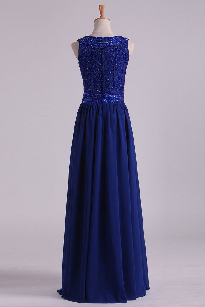 Dark Royal Blue Prom Dresses Scoop A Line Chiffon With Beading Floor Length