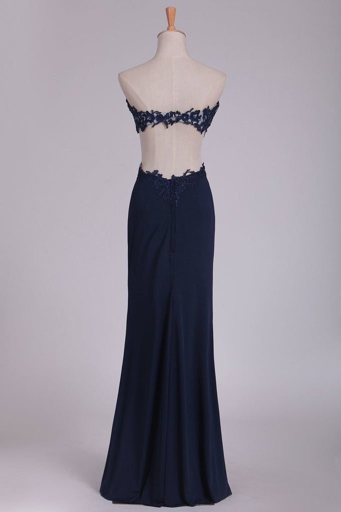 Prom Dresses Sweetheart Sheath With Applique And Slit Floor Length