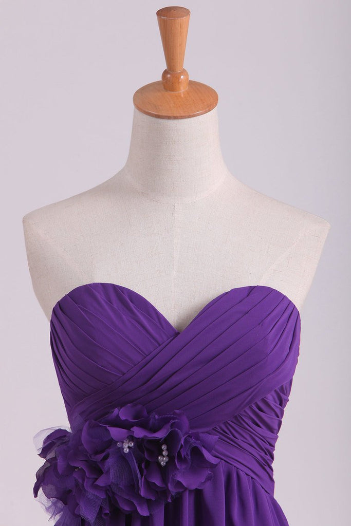 Bridesmaid Dresses Sweetheart Knee Length Chiffon With Handmade Flower A Line