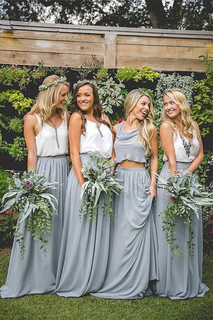 Pretty Lovely White And Gray Long A-Line 2 Pieces Simple Bridesmaid Dresses