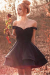 A Line Off The Shoulder Black Short Homecoming Dress