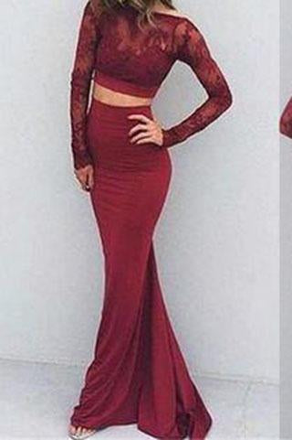 Burgundy Sexy Two Pieces Charming Backless Lace Long Sleeves Evening Dresses JS852