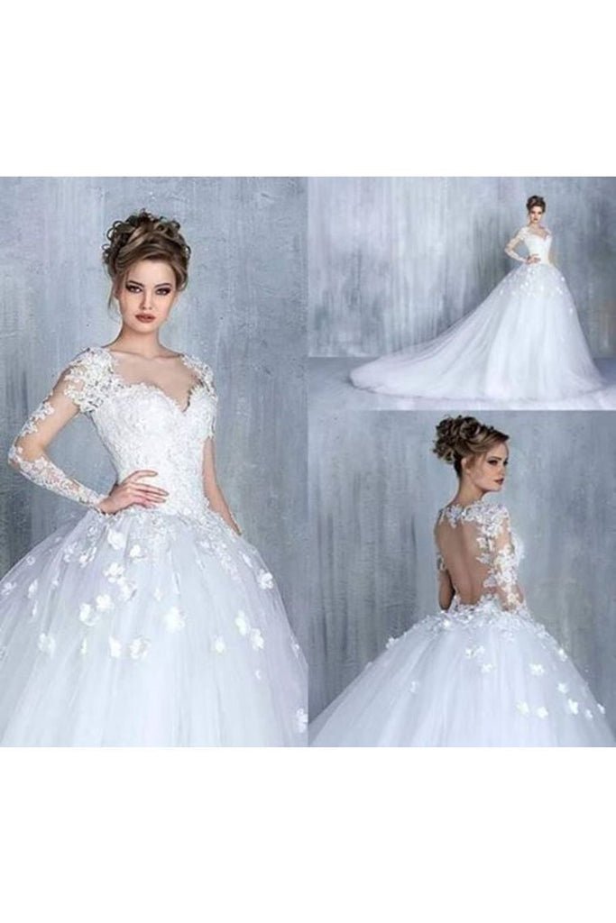 A Line Sweetheart Long Sleeves Cheap Tulle Wedding Dresses With Appliques