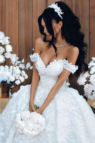 A Line Off The Shoulder Wedding Dresses Tulle With Applique And SSMPR88F3G3