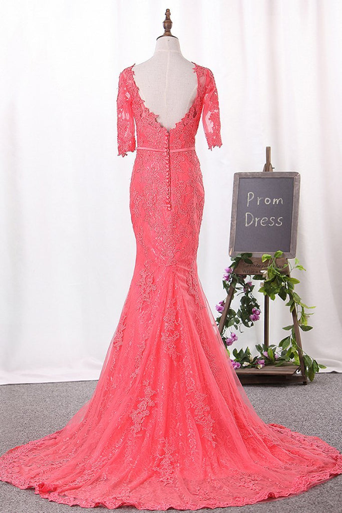 Mermaid Scoop Mid-Length Sleeves Prom Dresses Tulle With Appliques Covered Button