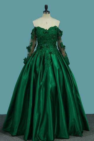 Off The Shoulder Long Sleeves Prom Dresses A-Line Satin With Applique And Beads