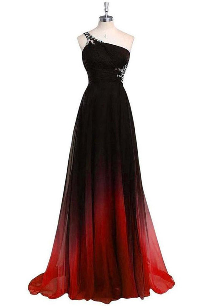 One Shoulder Black And Red Long Ombre Chiffon Beading Open Back Prom Dresses