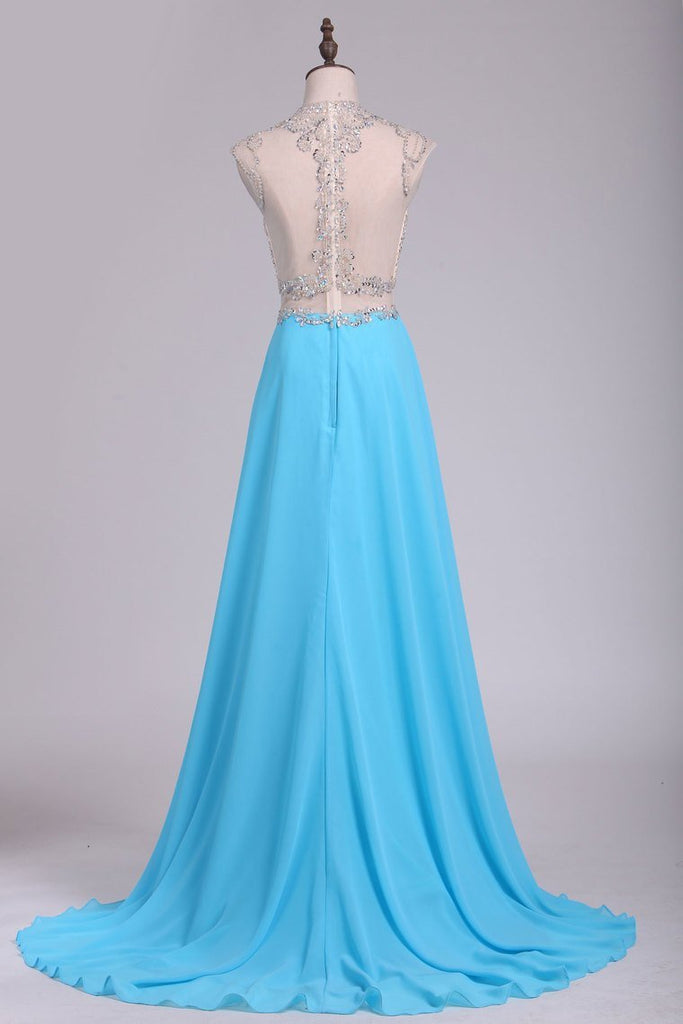 Scoop Prom Dresses Chiffon With Slit And Beads A Line