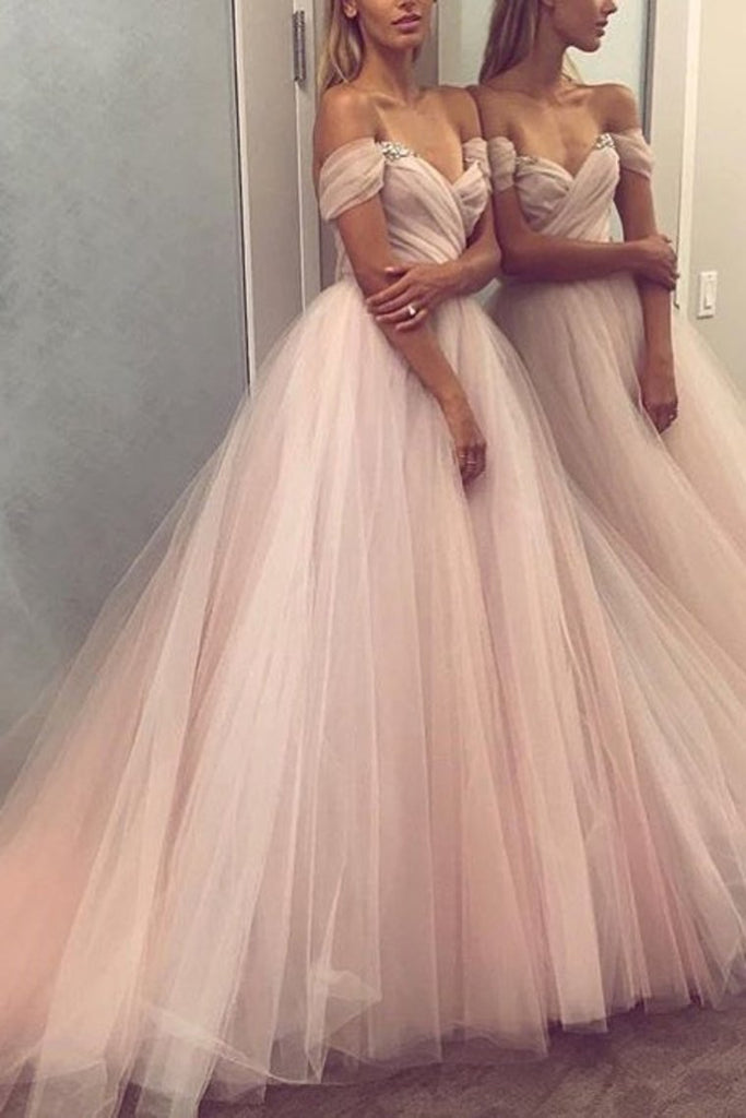 2021 A Line Off The Shoulder Tulle Prom Dresses With Beading And Ruffles