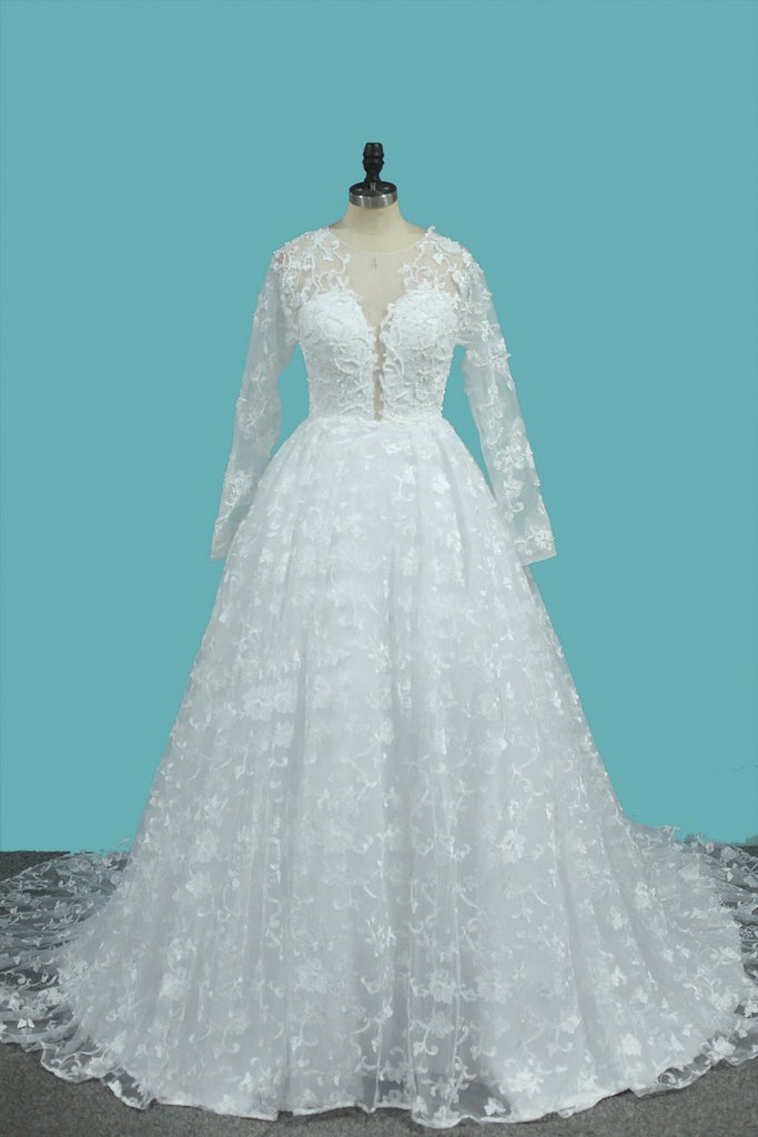 Luxurious A Line Lace Scoop Long Sleeves Wedding Dresses With Pearls Royal Train