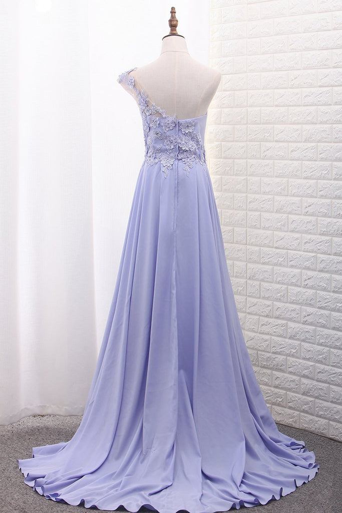 2019 One Shoulder A Line Satin Prom Dresses With Handmade Flowers And Slit
