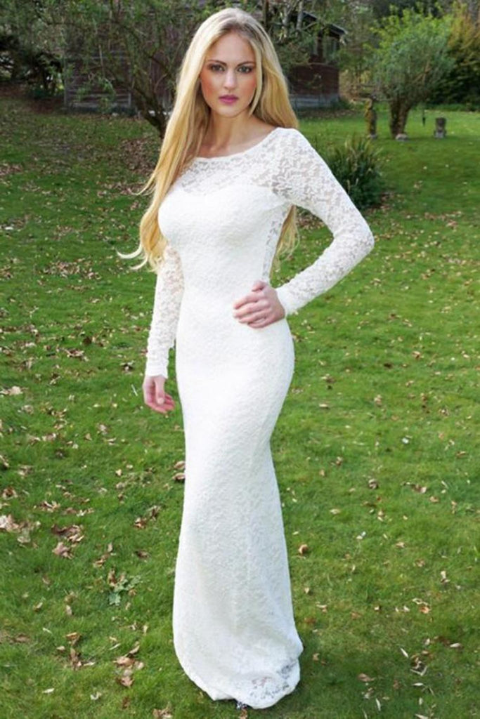 Elegant Long Sleeves Sheath Open Back Ivory Lace Long Prom Dresses