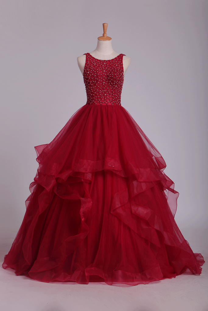 Tulle Ball Gown With Beading Prom Dresses Scoop Open Back