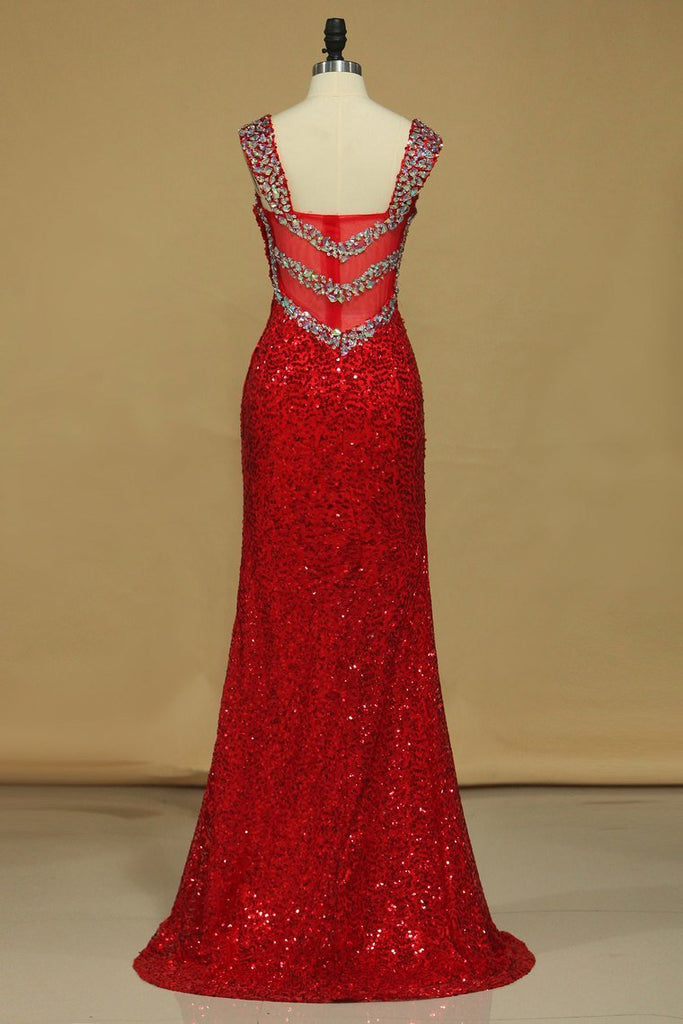 Sheath Straps Prom Dresses Sequins With Beads Floor Length