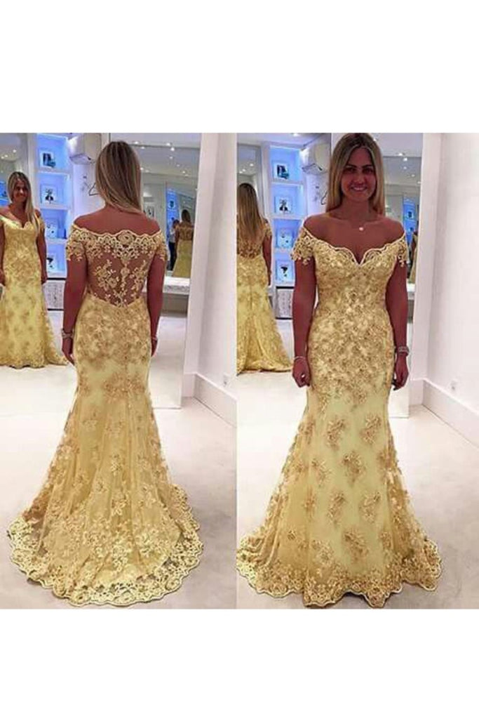 2021 Off The Shoulder Prom Dresses Tulle With Applique Sweep Train Mermaid