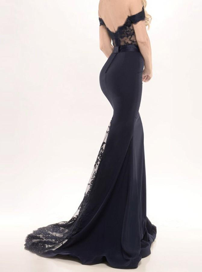 Black Long Prom Dresses Mermaid Off the Shoulder with Sash Prom Gowns Bridesmaid Dresses JS68