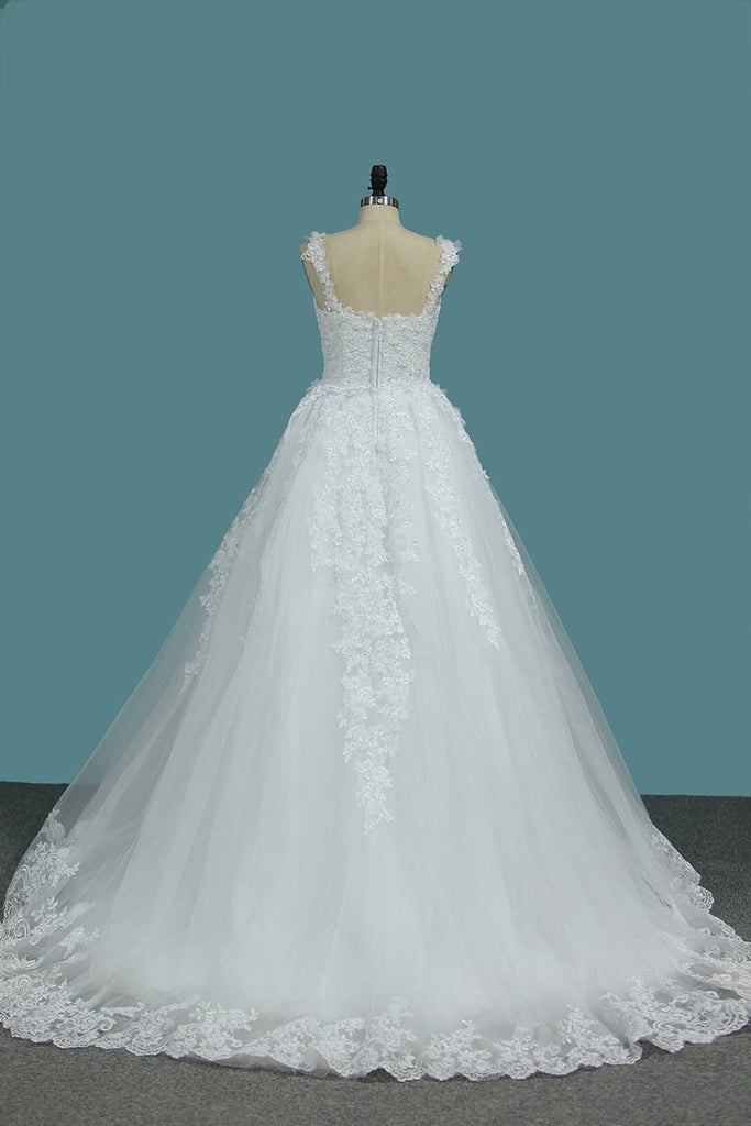 2019 Off The Shoulder A Line Tulle Wedding Dresses With Applique Court Train