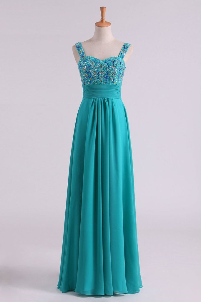 Prom Dress Straps Beaded Bodice Pleated Waistband A Line Chiffon