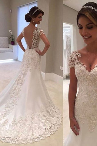 New Arrival Mermaid/Trumpet V-Neck Tulle Wedding Dresses With Applique Short Sleeves