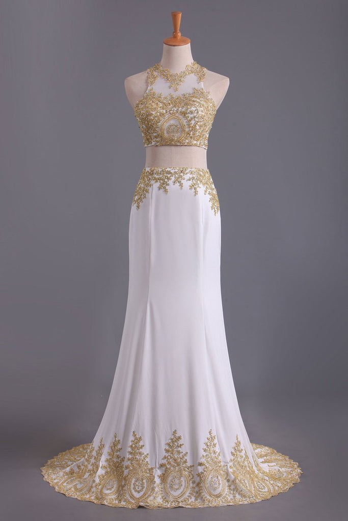 2019 Two-Piece Scoop Mermaid Prom Dresses Chiffon With Gold Applique