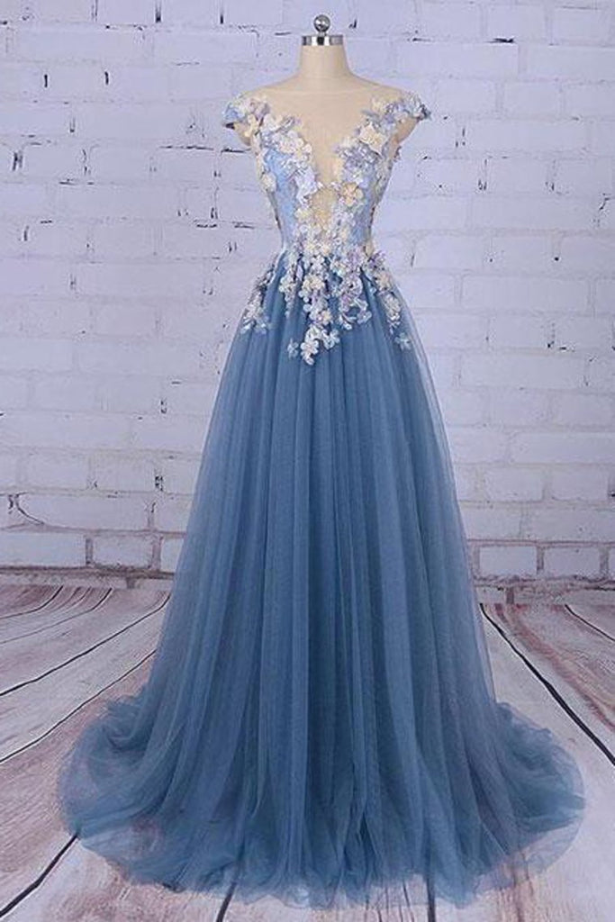 2019 Beautiful Prom Dresses Scoop A-Line Sweep/Brush Train Long Prom Dress/Evening Dress