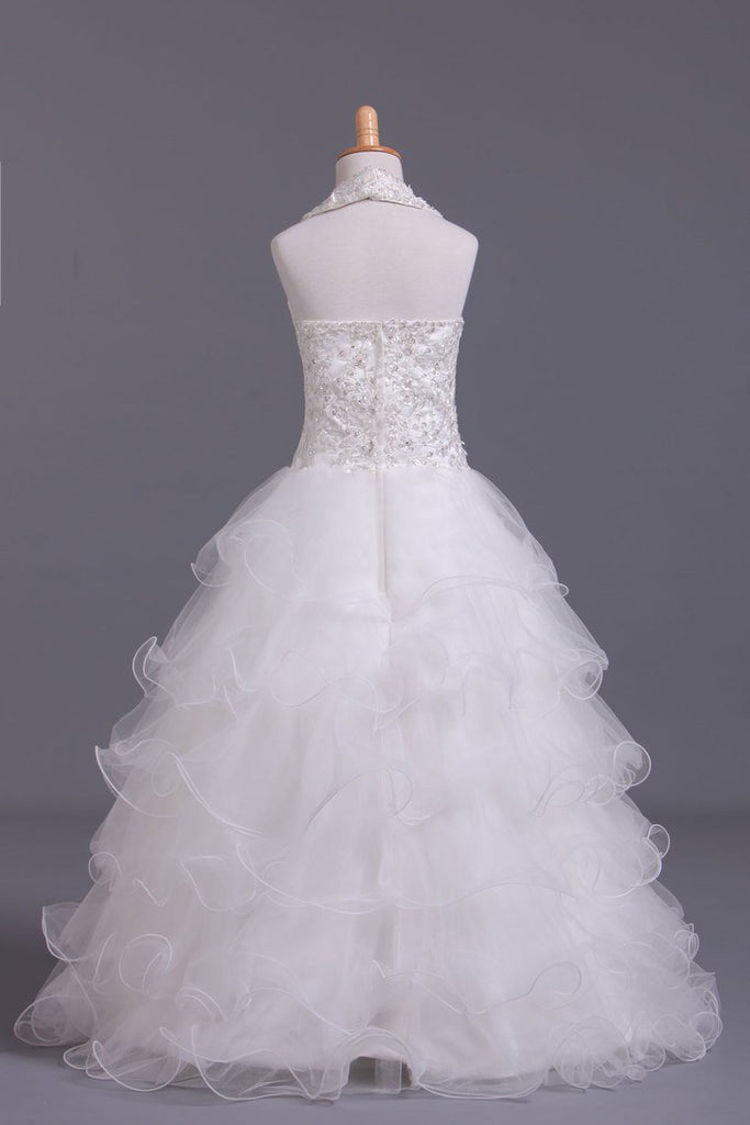 2019 Lovely Flower Girl Dresses Ball Gown Halter Tulle