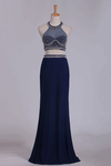2019 Prom Dresses Open Back Halter Two-Piece Sheath Spandex & Tulle With Beading
