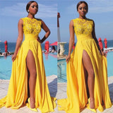Sexy Elegant A line Yellow Chiffon Cap Sleeves Lace Evening Prom Dresses JS796
