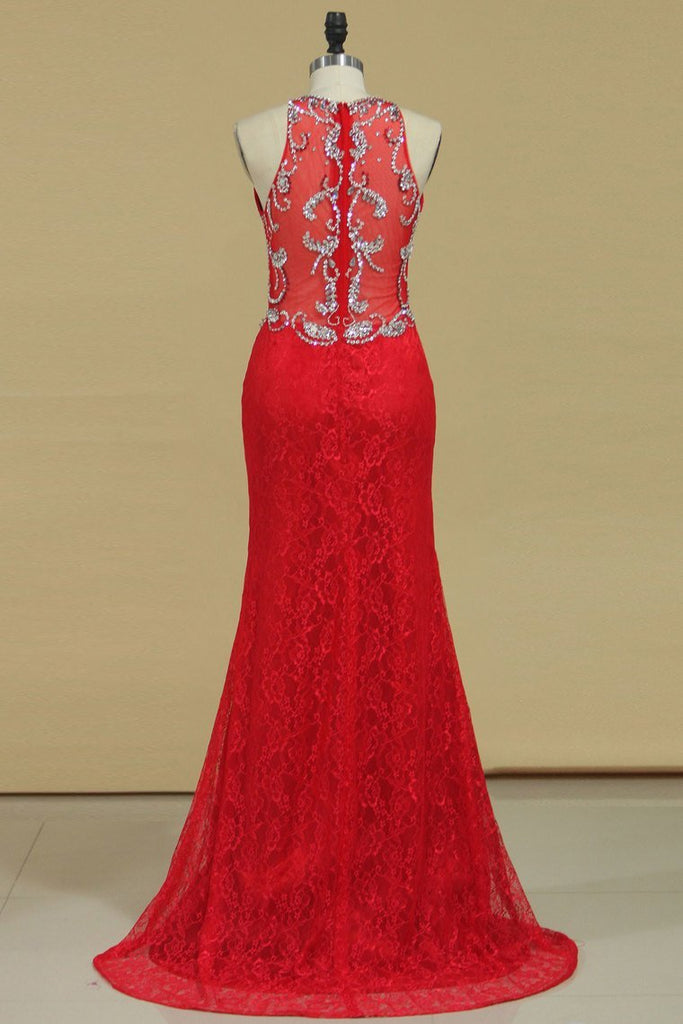 Prom Dresses Mermaid Scoop Lace With Beading Sweep Train