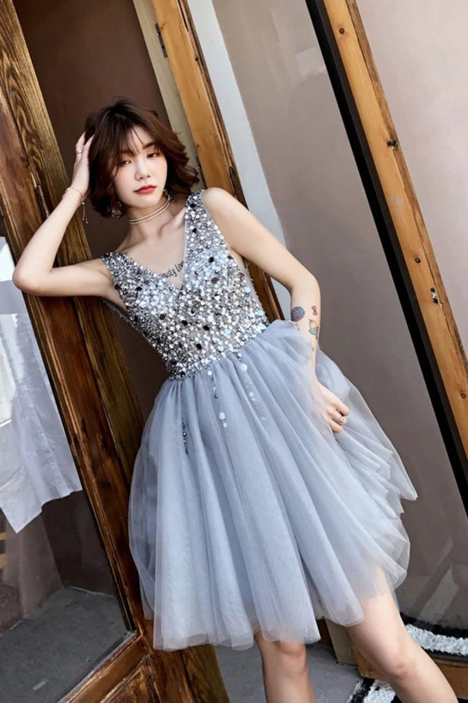 V Neck A Line Beaded Homecoming Dresses Short Tulle