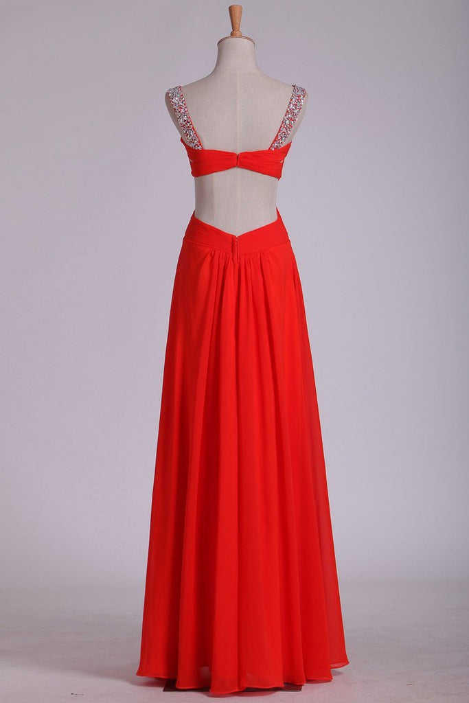 Straps Open Back Prom Dresses Sheath Chiffon With Beads And Ruffles