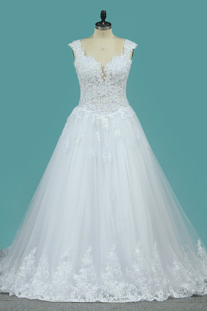 Wedding Dresses Off The Shoulder Tulle With Applique A Line Sweep Train