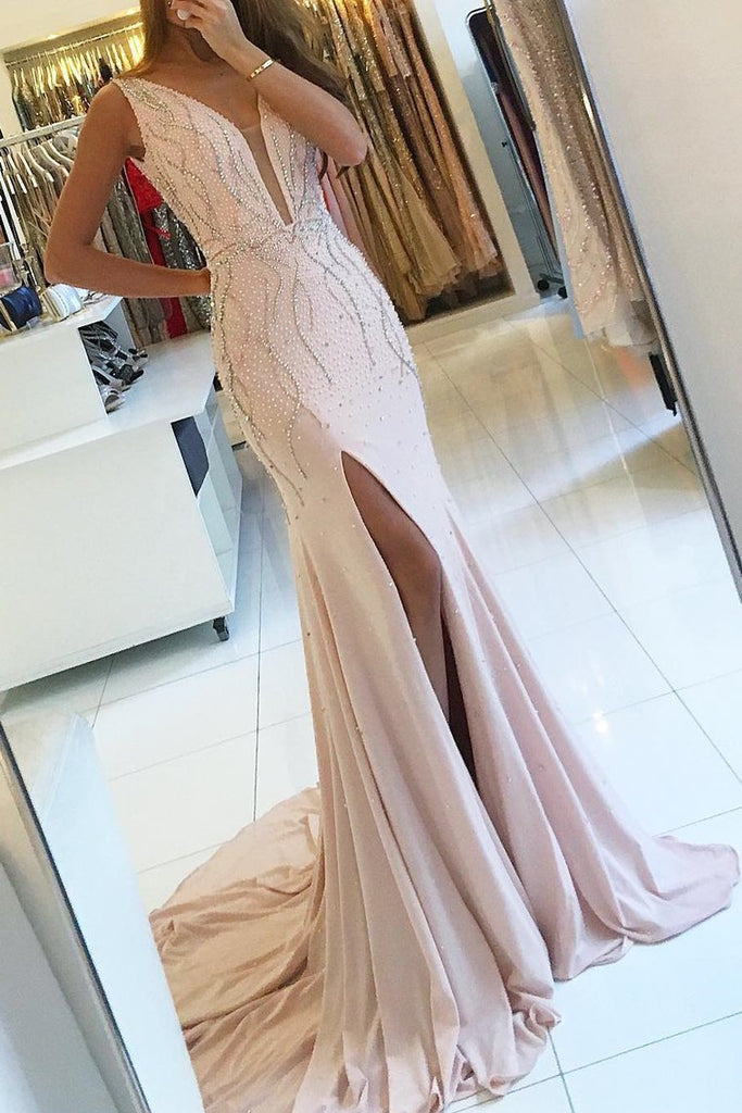 V-Neck Mermaid Chiffon Prom Dresses With Beads And Slit Open Back