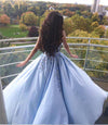 Princess Ball Gown Blue Appliques Strapless Quinceanera Dresses, Sweet 16 Dresses SSM15290