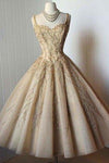 Elegant A-Line Straps Sweetheart Tea-Length Sleeveless Homecoming Dresses