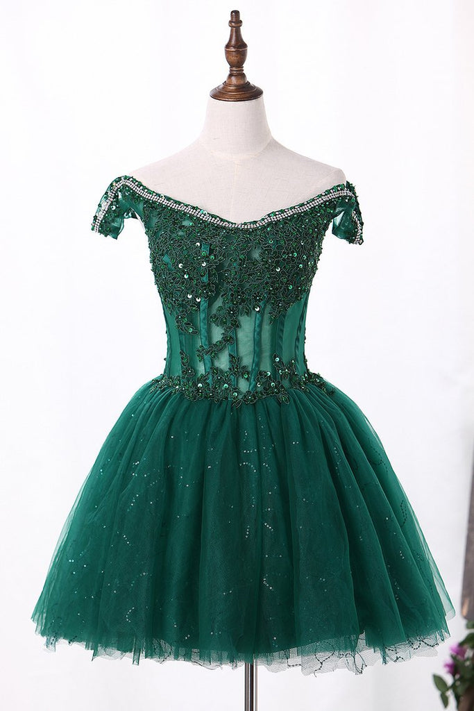 Off The Shoulder A Line Tulle Homecoming Dresses With Applique