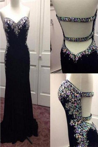 Black Beading Open Back Long Sheath Prom Dress Evening Dresses (ED1383)