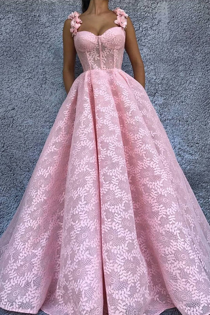 Straps Prom Dresses A Line Lace With Handmade Flower Sweep Train