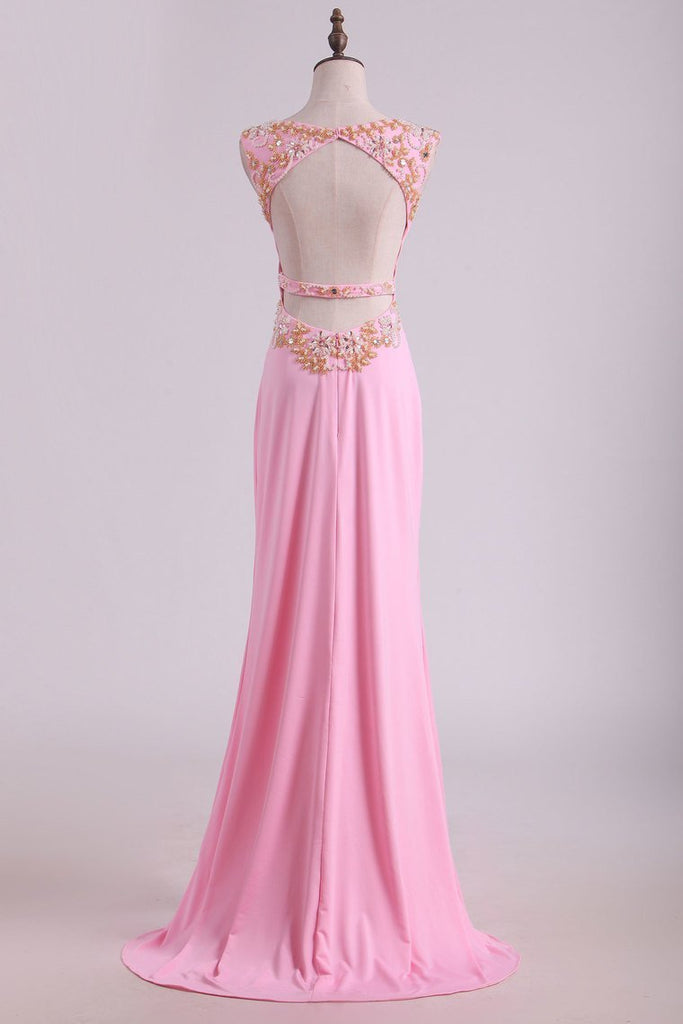 Prom Dresses Sheath  Scoop Spandex With Beading Floor Length
