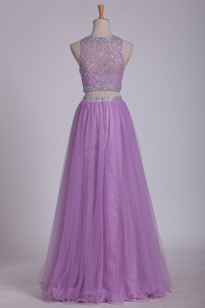 Two Pieces Bateau Prom Dress A Line With Beading Tulle