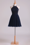 Scoop Homecoming Dresses  A-Line With Beading Tulle Mini