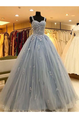 Ball Gown Straps Long Prom Dress Appliques Quinceanera SSMPKS9FELB