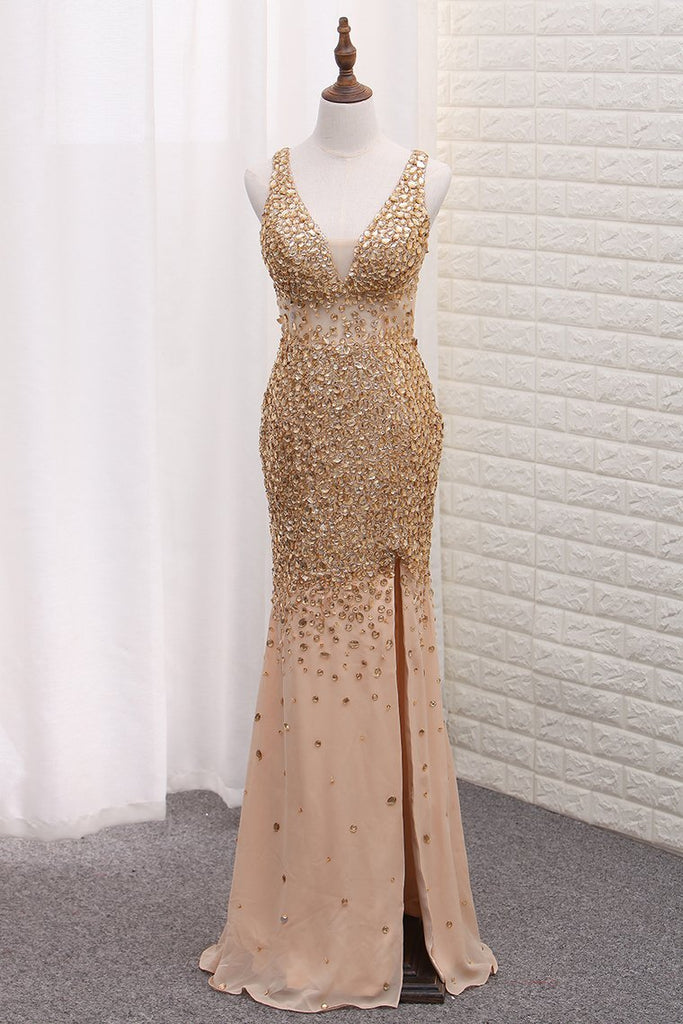 Luxury Mermaid Chiffon Beaded Bodice Straps Prom Dresses With Slit Crossed Back