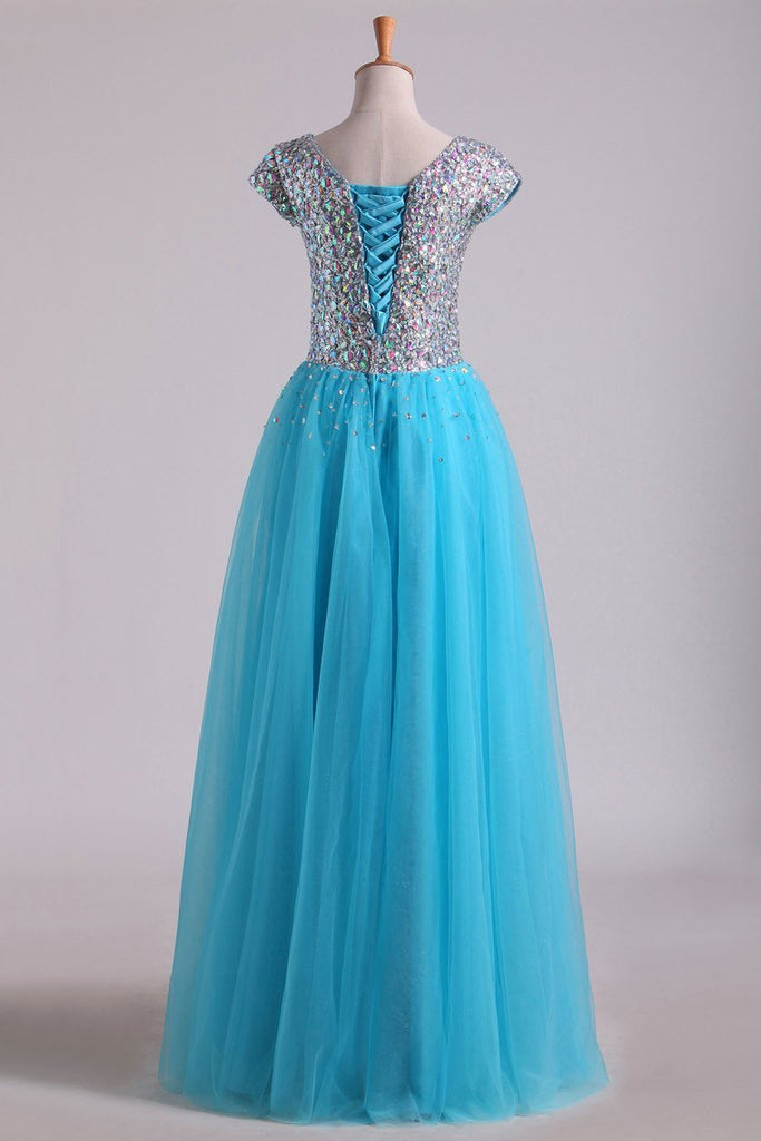 Modest Full Beaded Bodice A Line Dress Short Sleeve With Tulle Skirt