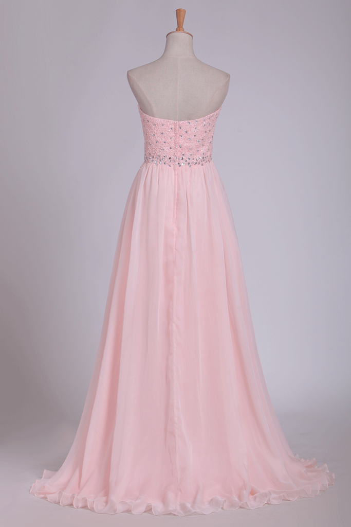 2019 Chiffon Sweetheart Beaded Bodice Prom Dresses A Line With Slit