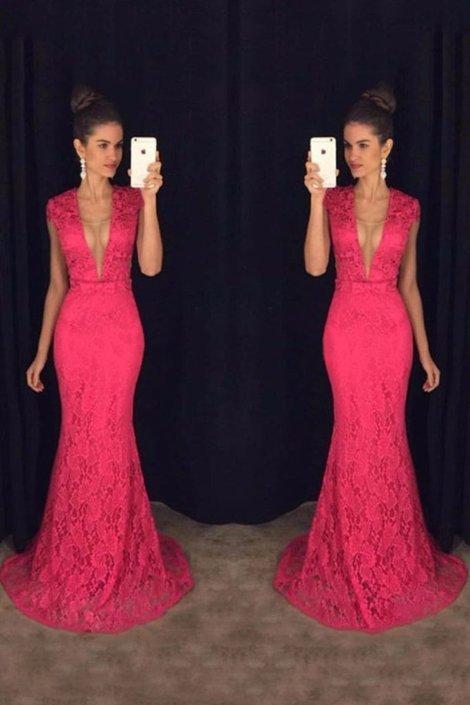 2019 V Neck Short Sleeves Prom Dresses Mermaid Lace Sweep Train