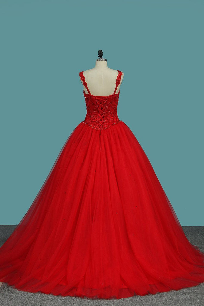 2021 Ball Gown Straps Quinceanera Dresses Beade Bodice Tulle
