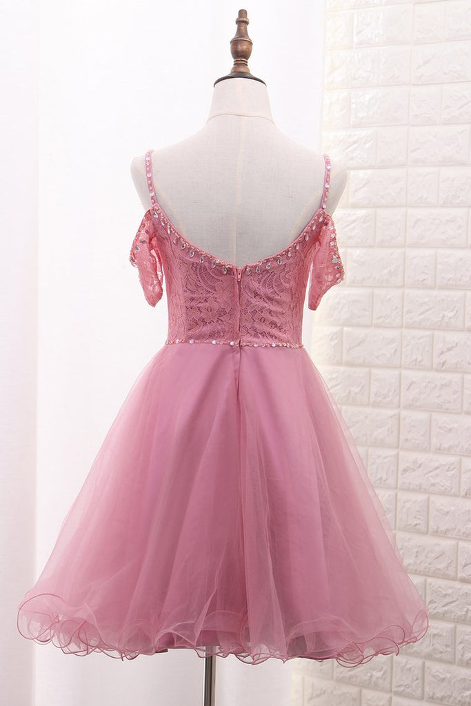 2021 A Line Tulle & Lace Spaghetti Straps Homecoming Dresses With Beads