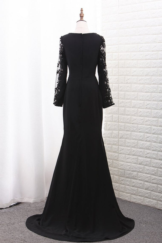 2019 Chiffon Long Sleeves Scoop Mermaid Evening Dresses With Applique
