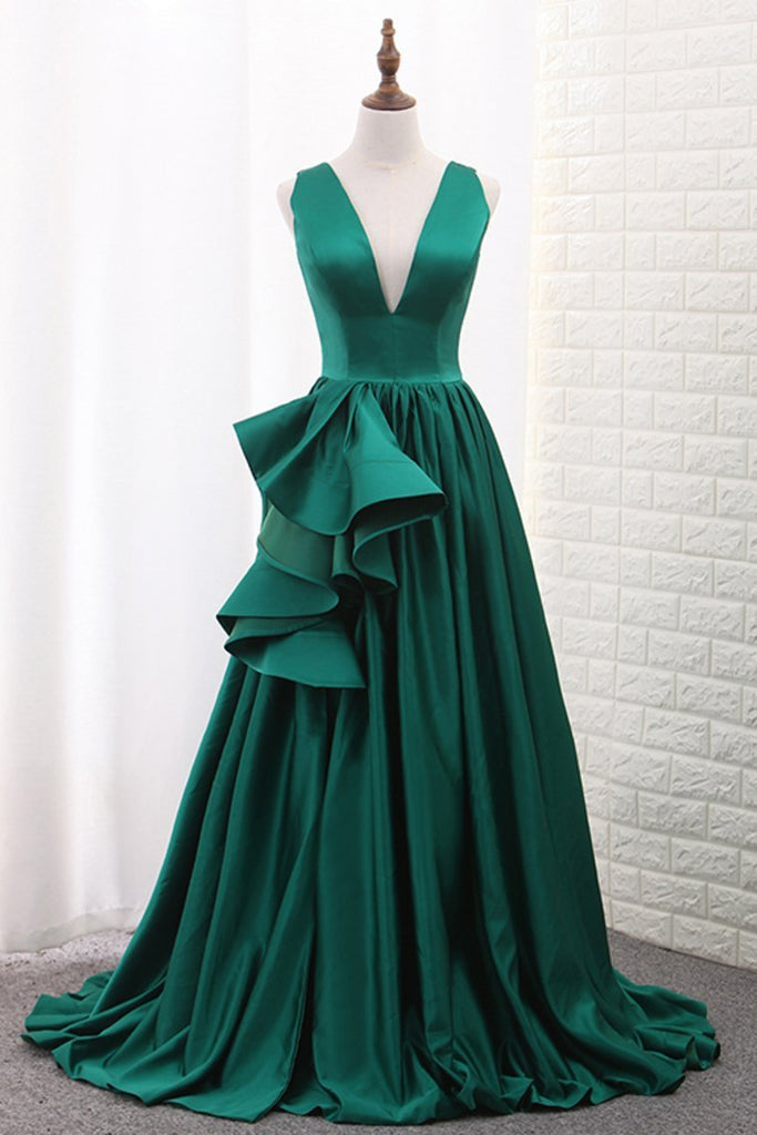 V Neck A Line Satin Prom Dresses With Slit Sweep Train